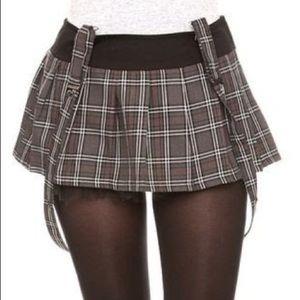 Grey plaid suspenders skirt
